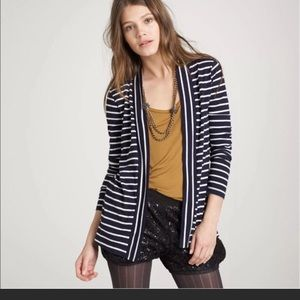 J.Crew navy and white striped cardigan